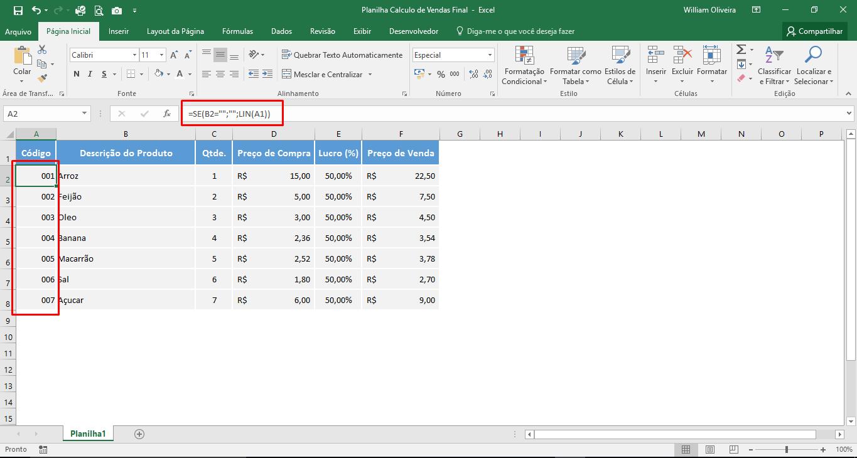Planilha para cálculo de vendas final em Excel