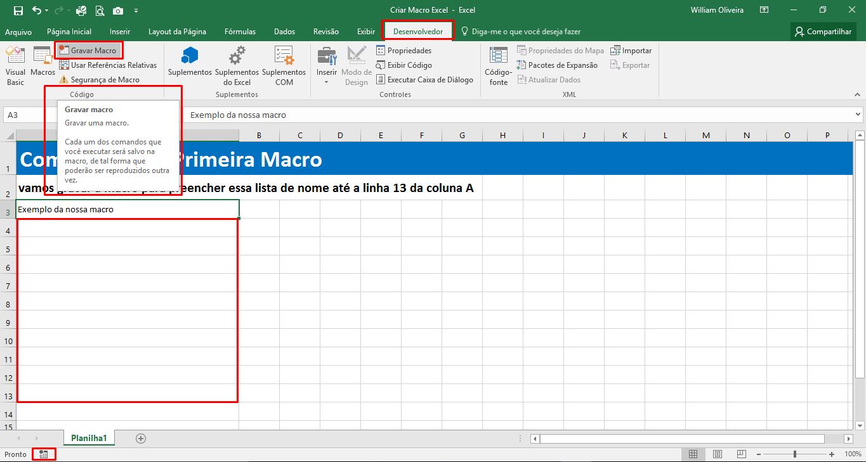 Como criar sua primeira macro no Excel