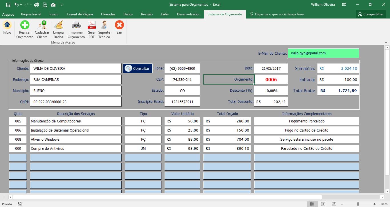 OC2 Modelo de orçamento   Planilha para Gerar orçamento