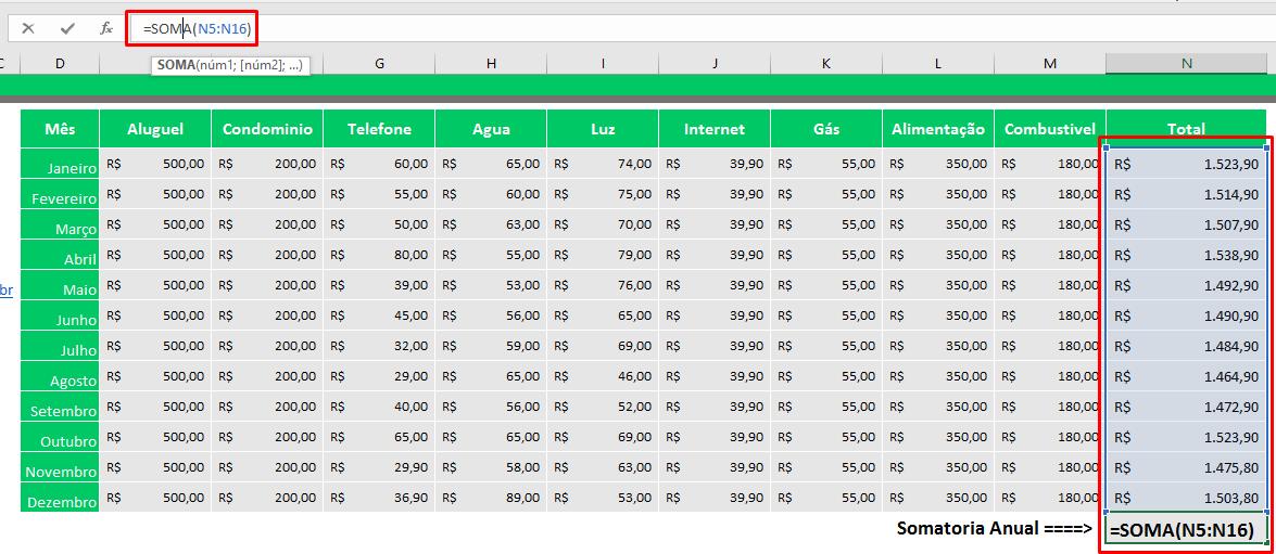 Como somar no Excel